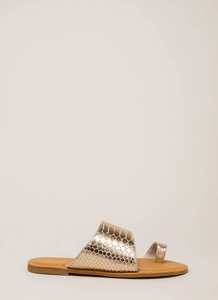 Sun's Out Toes Out Shiny Scaled Sandals GOLD (Final Sale)