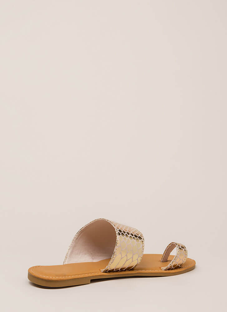 Sun's Out Toes Out Shiny Scaled Sandals GOLD