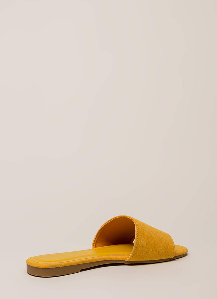 Zest For Life Faux Suede Slide Sandals MARIGOLD (Final Sale)