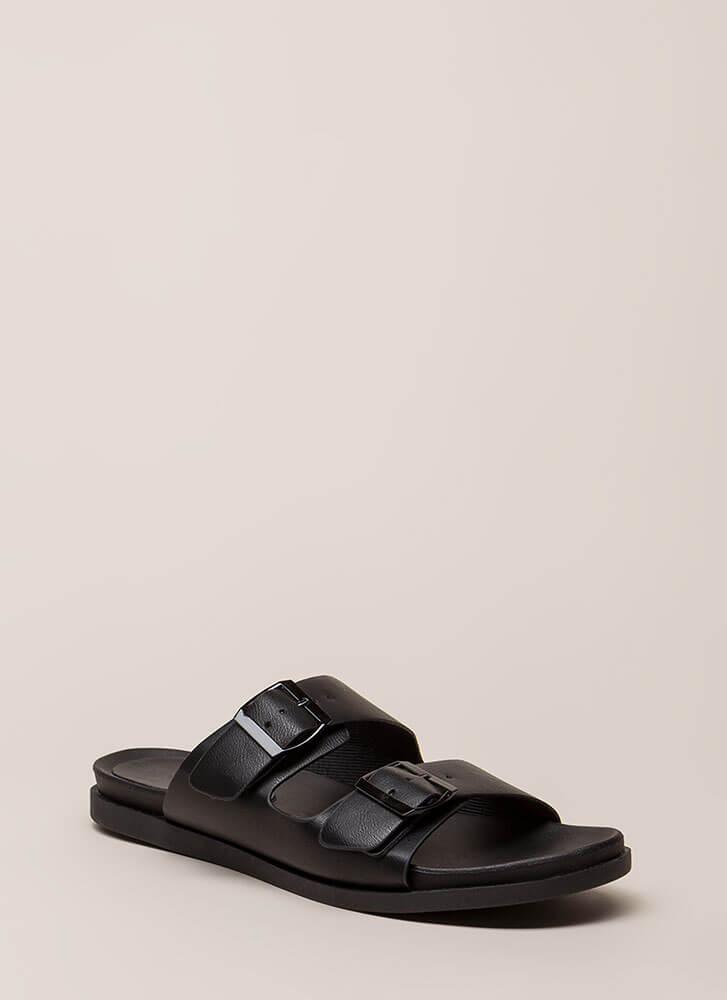 Mission Accepted Buckled Slide Sandals BLACK