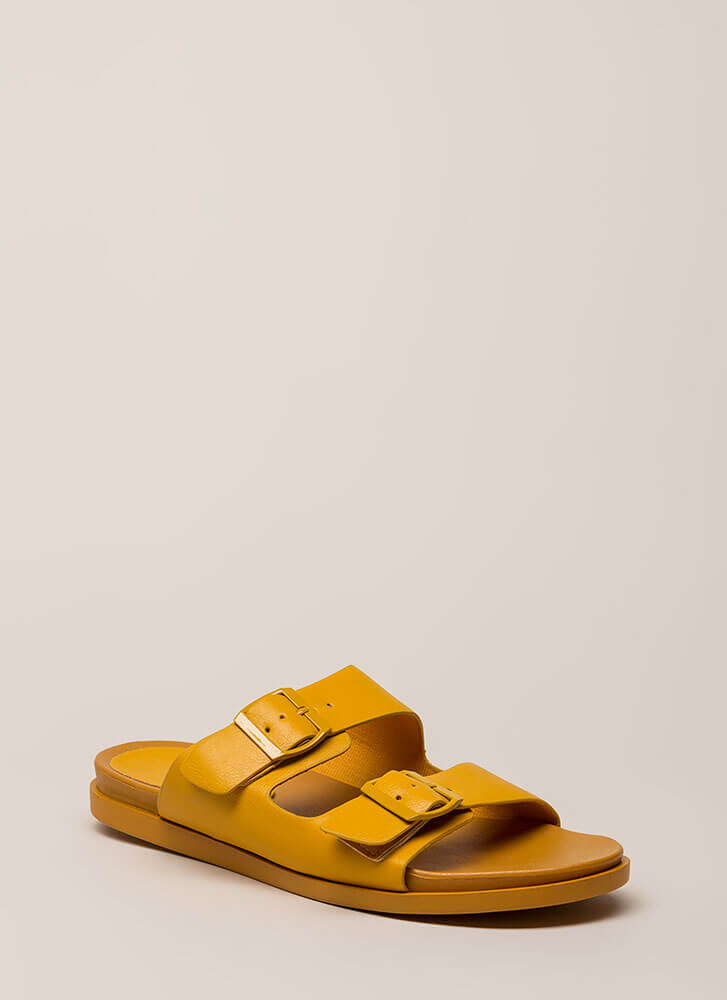 Mission Accepted Buckled Slide Sandals MARIGOLD
