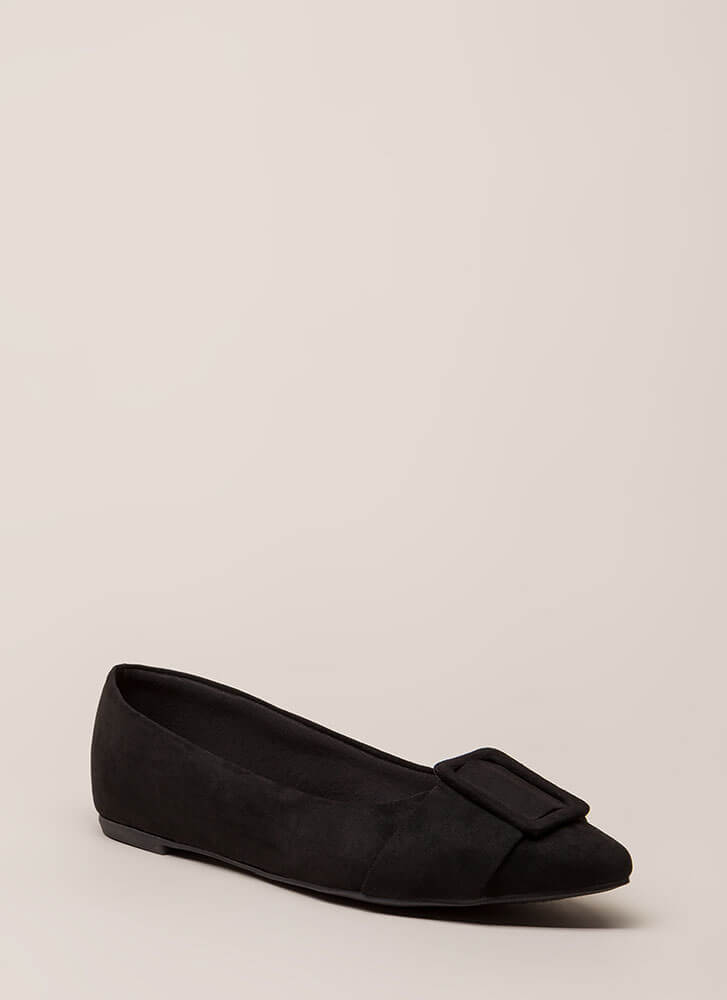 Buckle My Shoe Pointy Faux Suede Flats BLACK