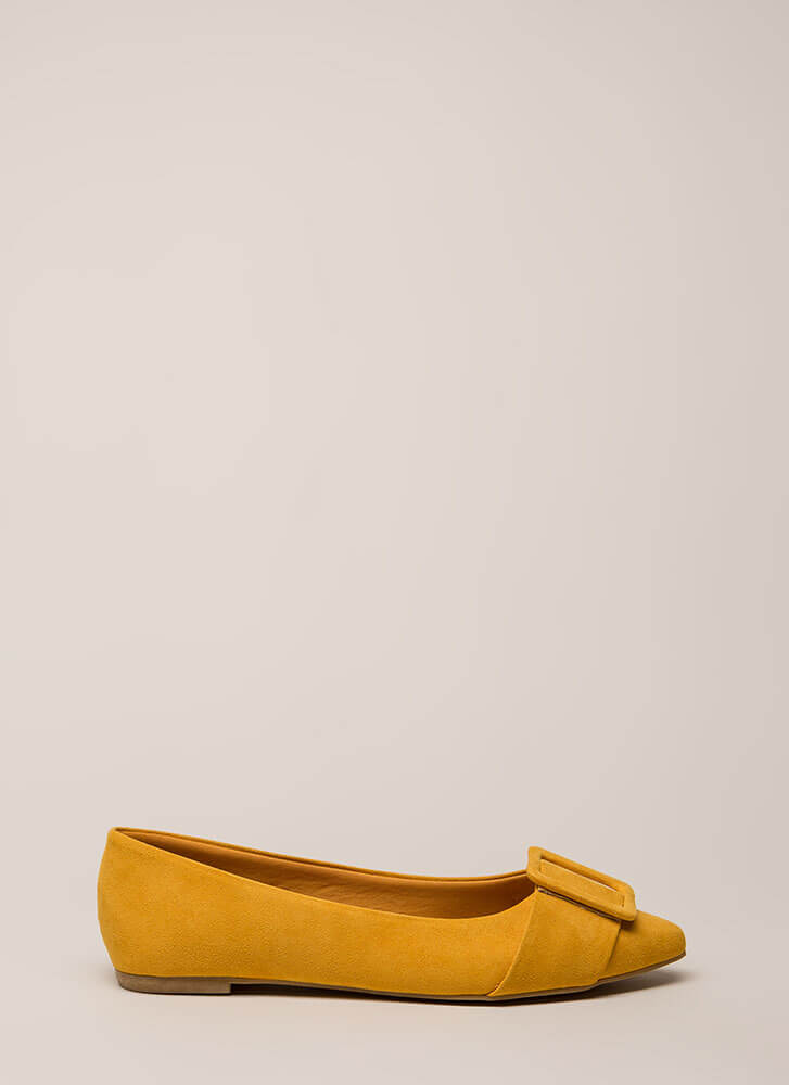 Buckle My Shoe Pointy Faux Suede Flats MARIGOLD