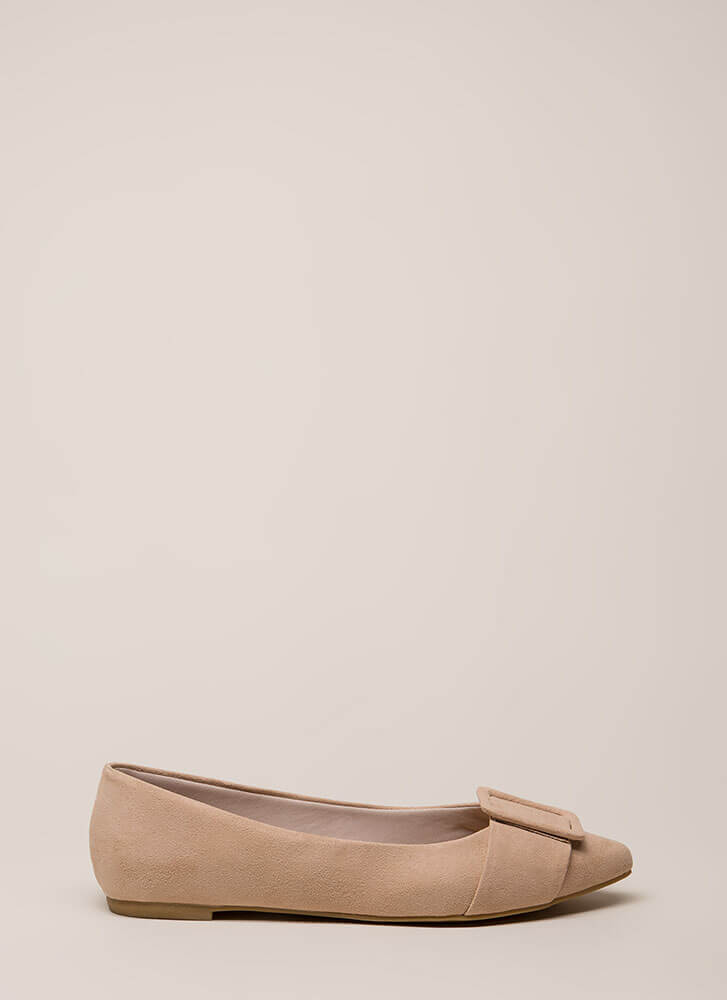 Buckle My Shoe Pointy Faux Suede Flats NUDE