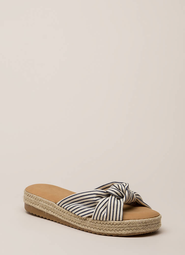 Beach Vacay Striped Jute Trim Sandals NAVY