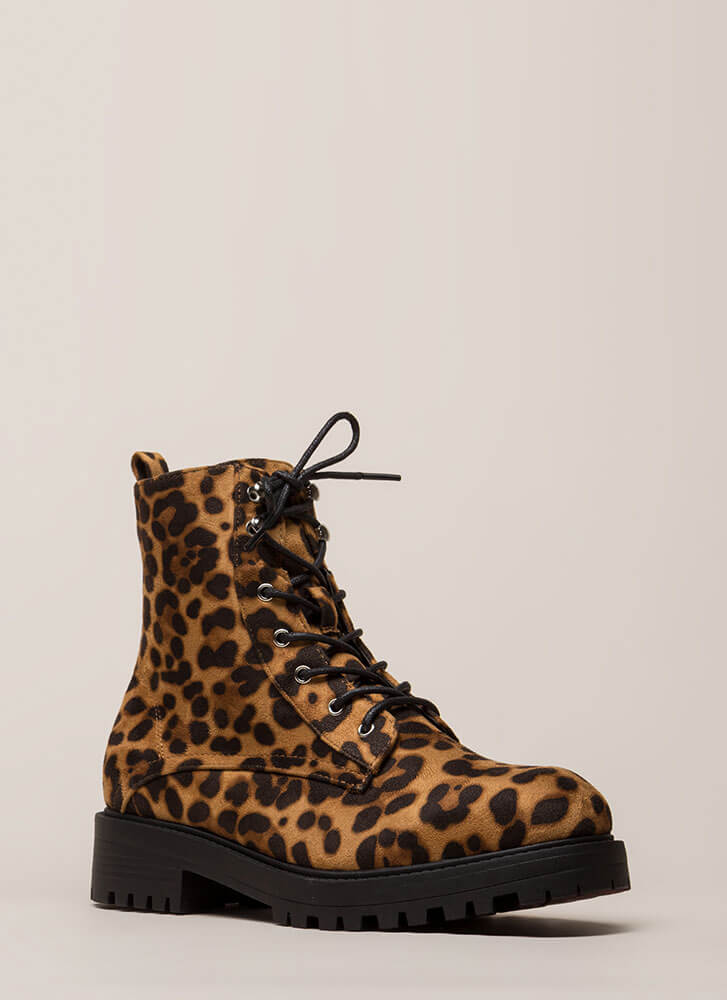 Little Punk Animal Print Combat Boots LEOPARD