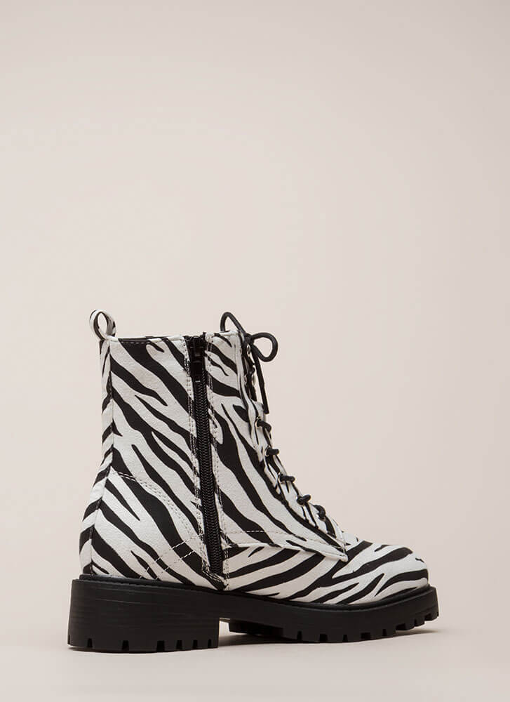 Little Punk Animal Print Combat Boots ZEBRA