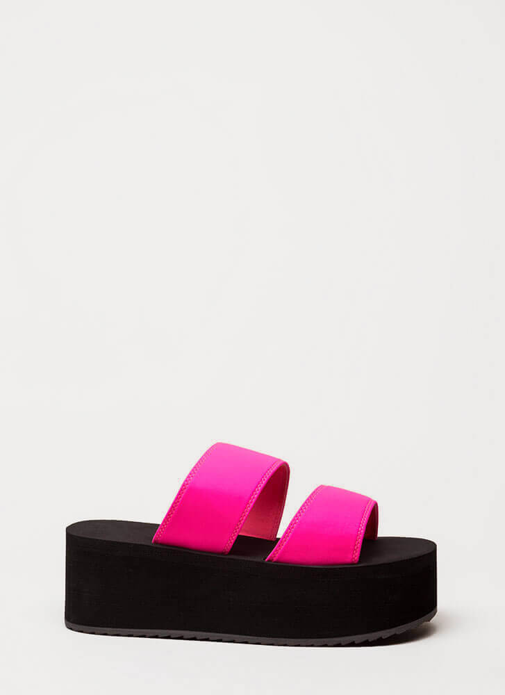 New Heights Platform Slide Sandals NEONPINK (Final Sale)