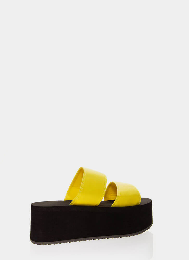 New Heights Platform Slide Sandals NEONYELLOW (Final Sale)