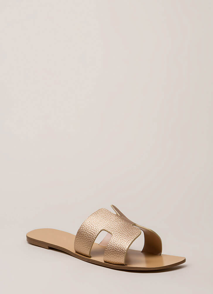 At The Cabana Cut-Out Slide Sandals ROSEGOLD