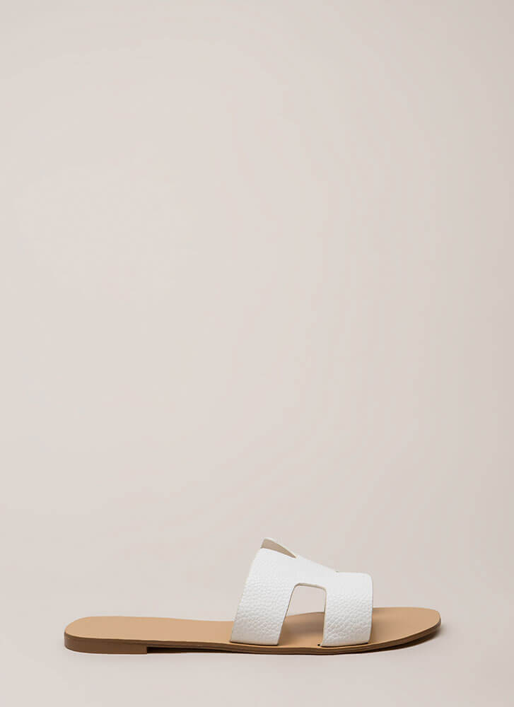 At The Cabana Cut-Out Slide Sandals WHITE