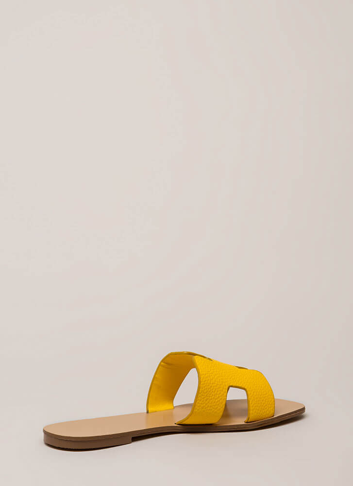 At The Cabana Cut-Out Slide Sandals YELLOW