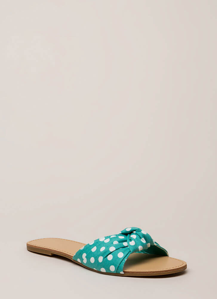 Knots And Spots Polka Dot Slide Sandals AQUA
