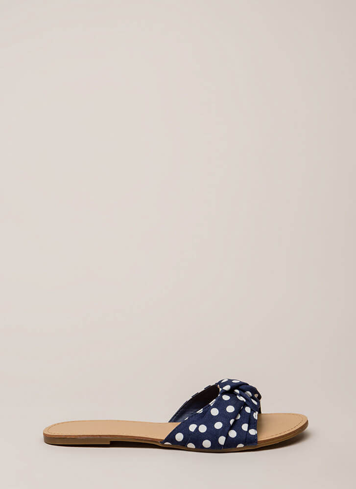 Knots And Spots Polka Dot Slide Sandals BLUE