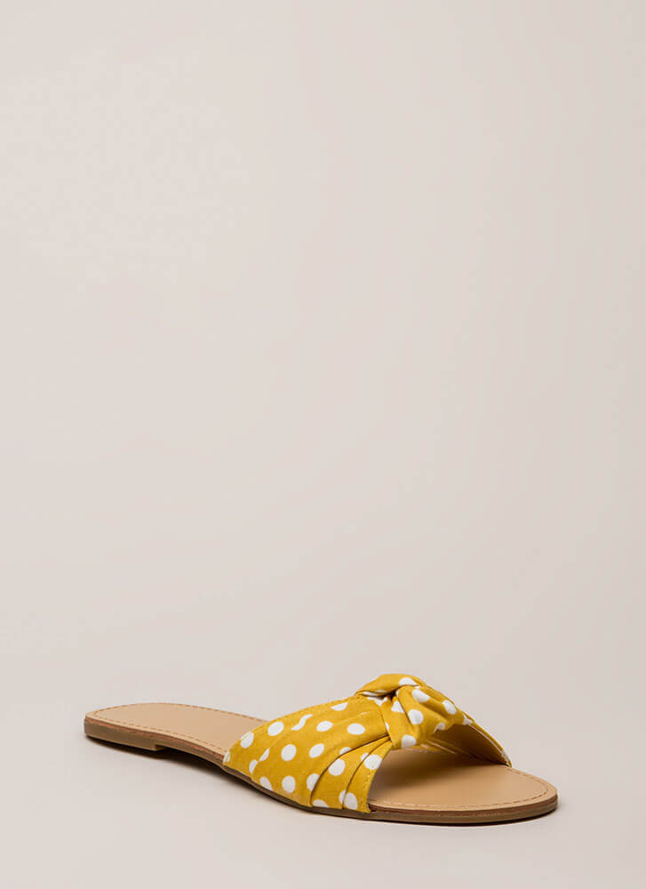 Knots And Spots Polka Dot Slide Sandals MUSTARD