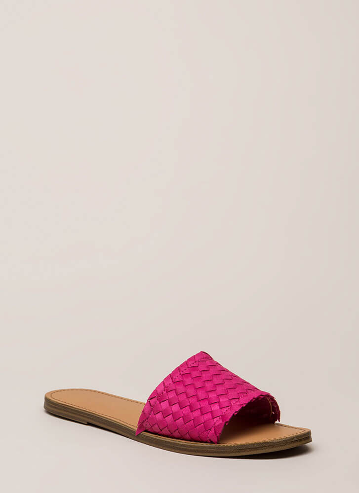 Picnic Basketwoven Slide Sandals FUCHSIA