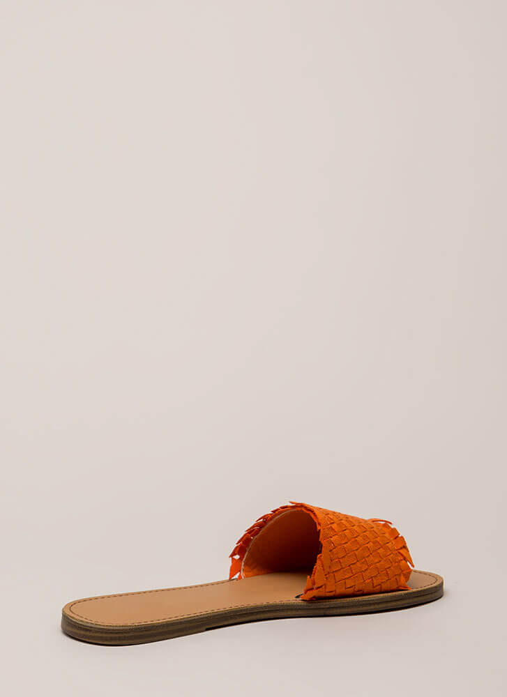 Picnic Basketwoven Slide Sandals ORANGE