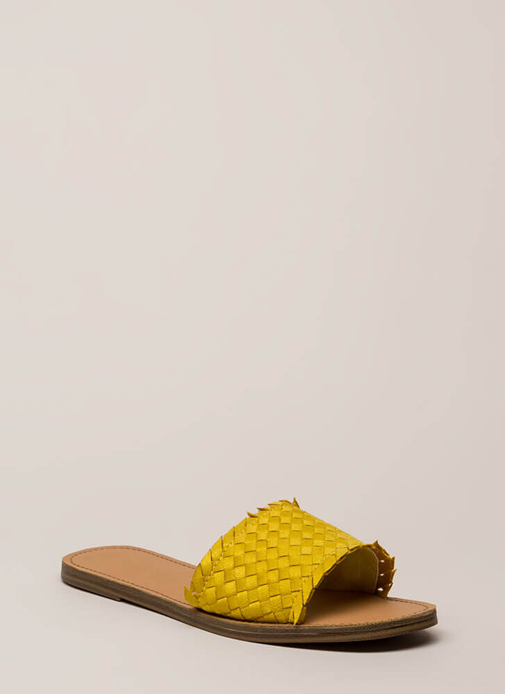 Picnic Basketwoven Slide Sandals YELLOW