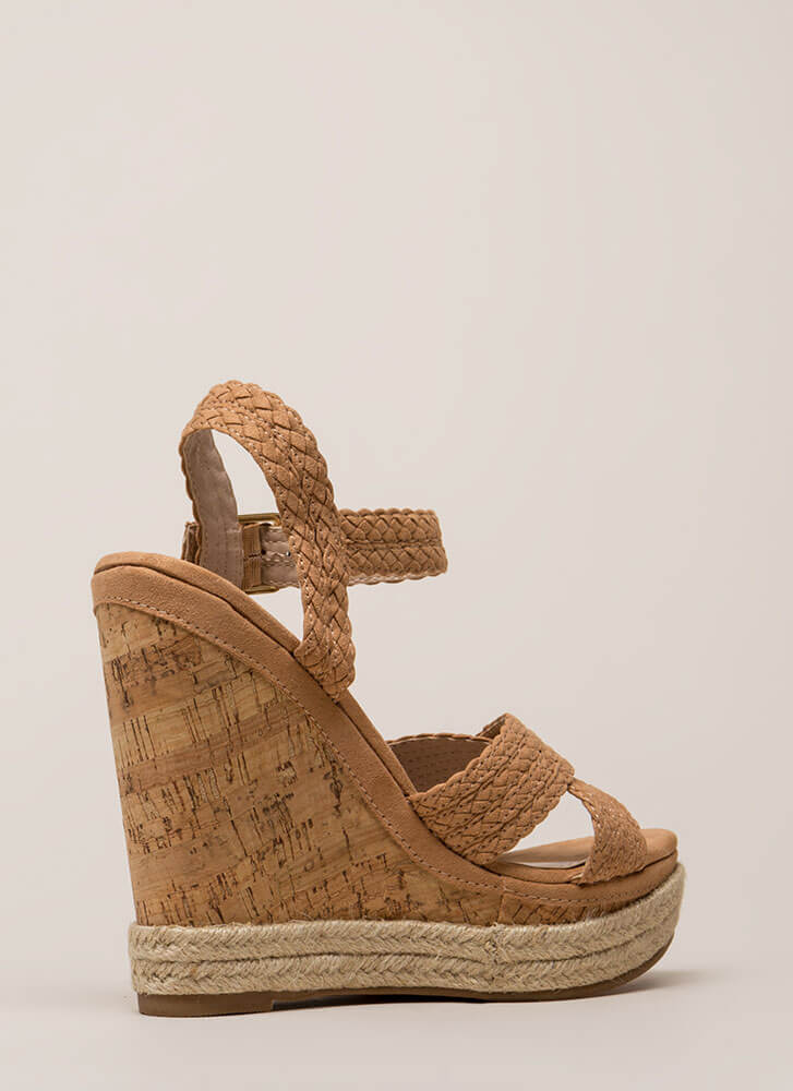 Just Beachy Woven Strap Platform Wedges TAUPE