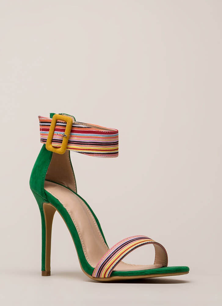Cool Colors Striped Ankle Cuff Heels JADE