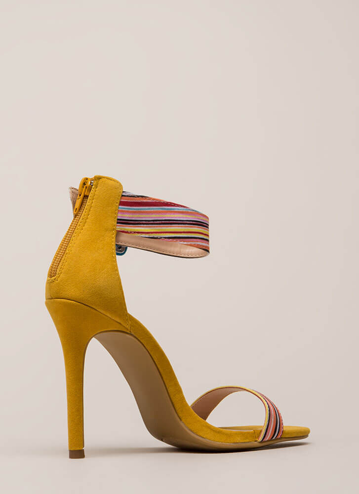 Cool Colors Striped Ankle Cuff Heels YELLOW