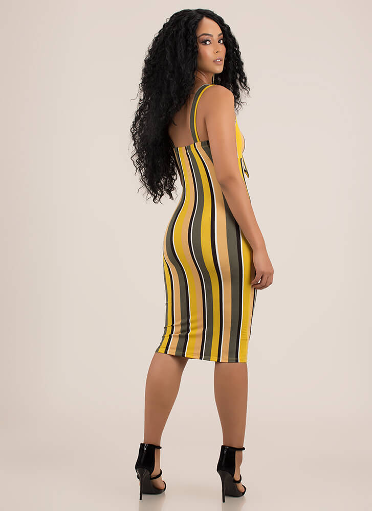 Perfected Knotted Striped Midi Dress MUSTARD