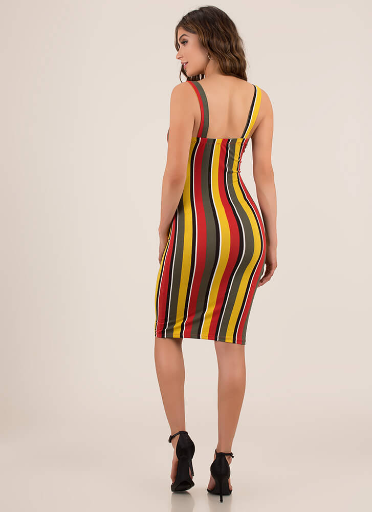 Perfected Knotted Striped Midi Dress RUST