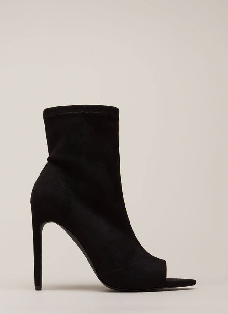 Peep-Toe Show Faux Suede Booties BLACK