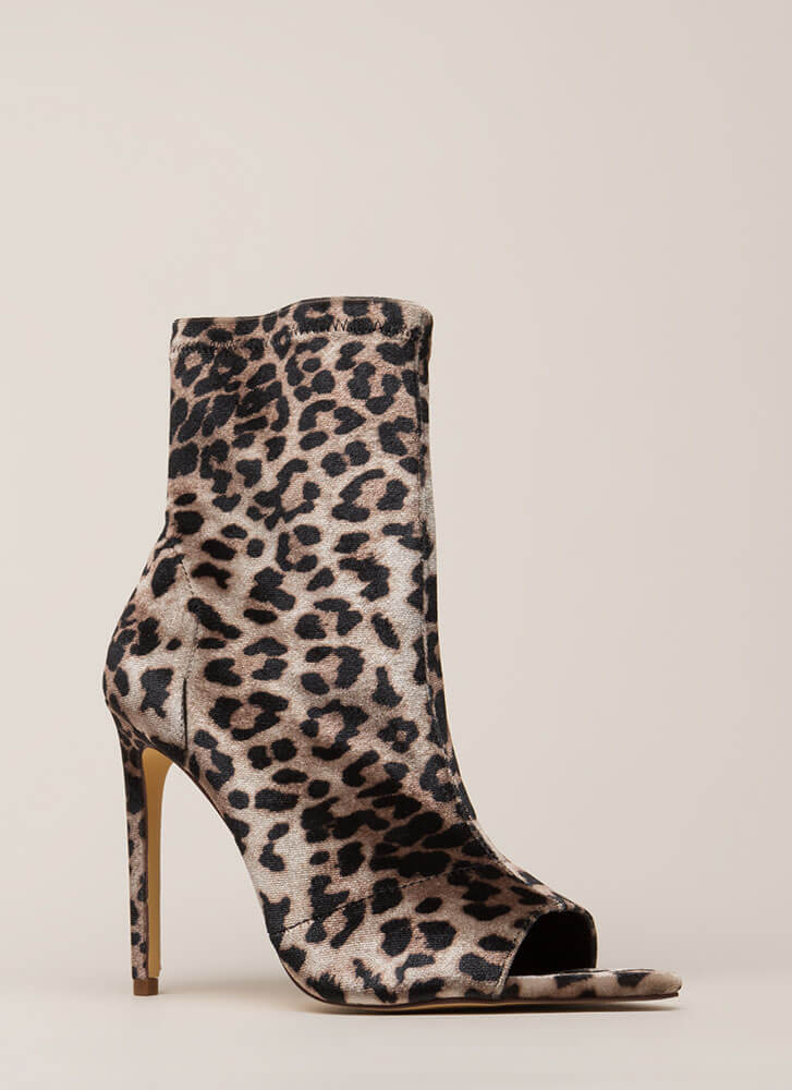 Peep-Toe Show Faux Suede Booties LEOPARD