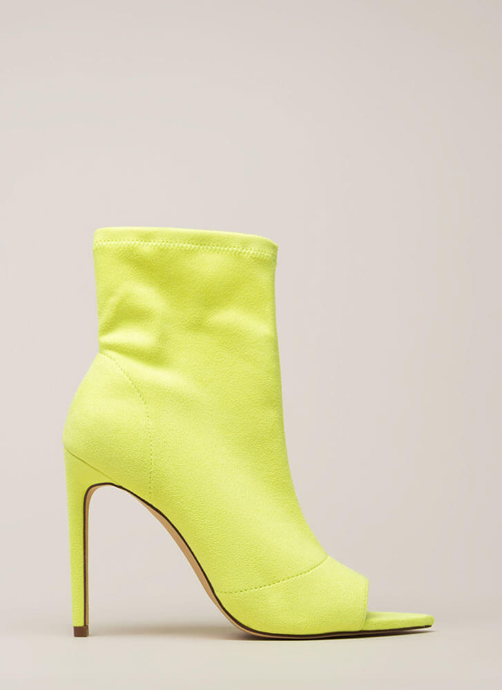 Peep-Toe Show Faux Suede Booties YELLOW