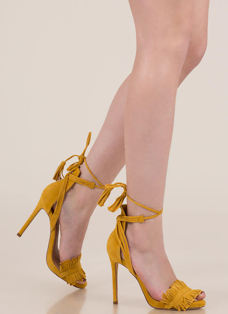 f8563c0a935 Fringe And Tassels Lace-Up Heels