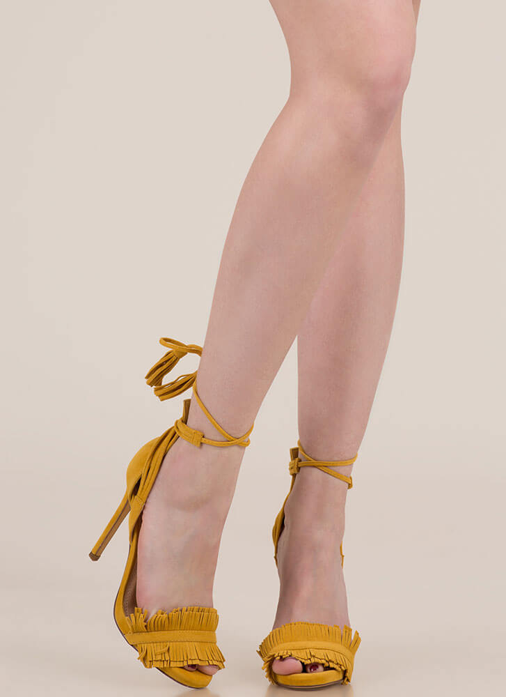 Fringe And Tassels Lace-Up Heels MUSTARD