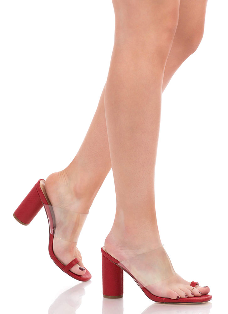 Clear Conscience Chunky Mule Heels RED
