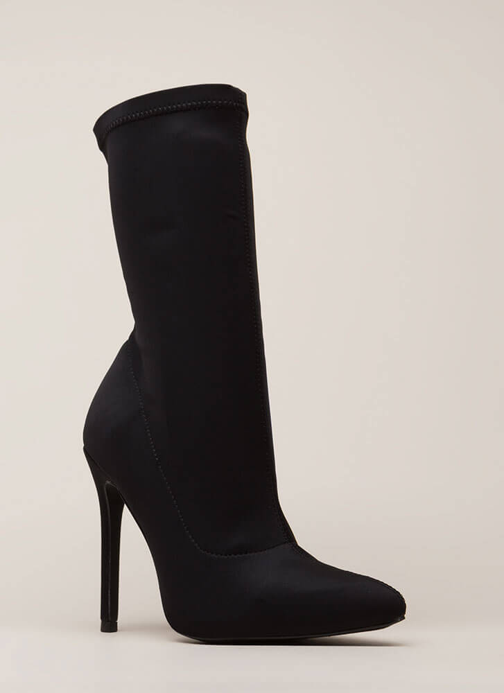 Plain And Tall Pointy Sock Booties BLACK