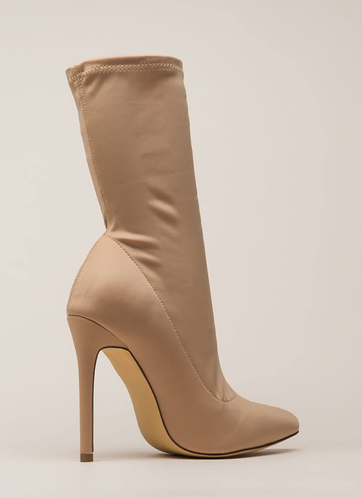 Plain And Tall Pointy Sock Booties NUDE