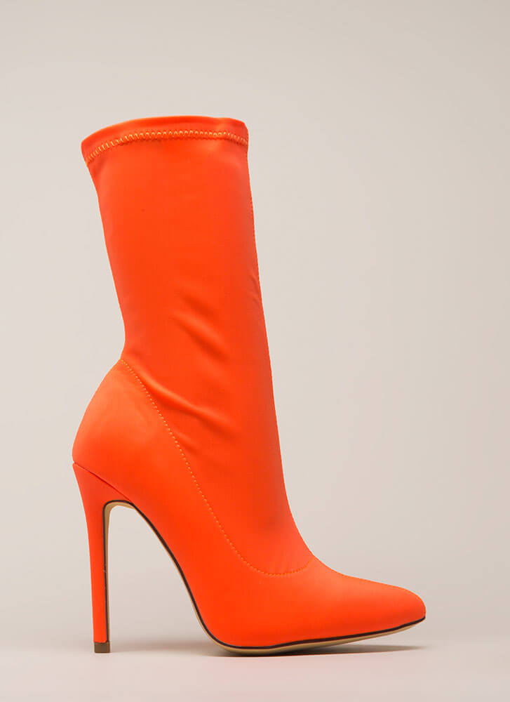 Plain And Tall Pointy Sock Booties ORANGE