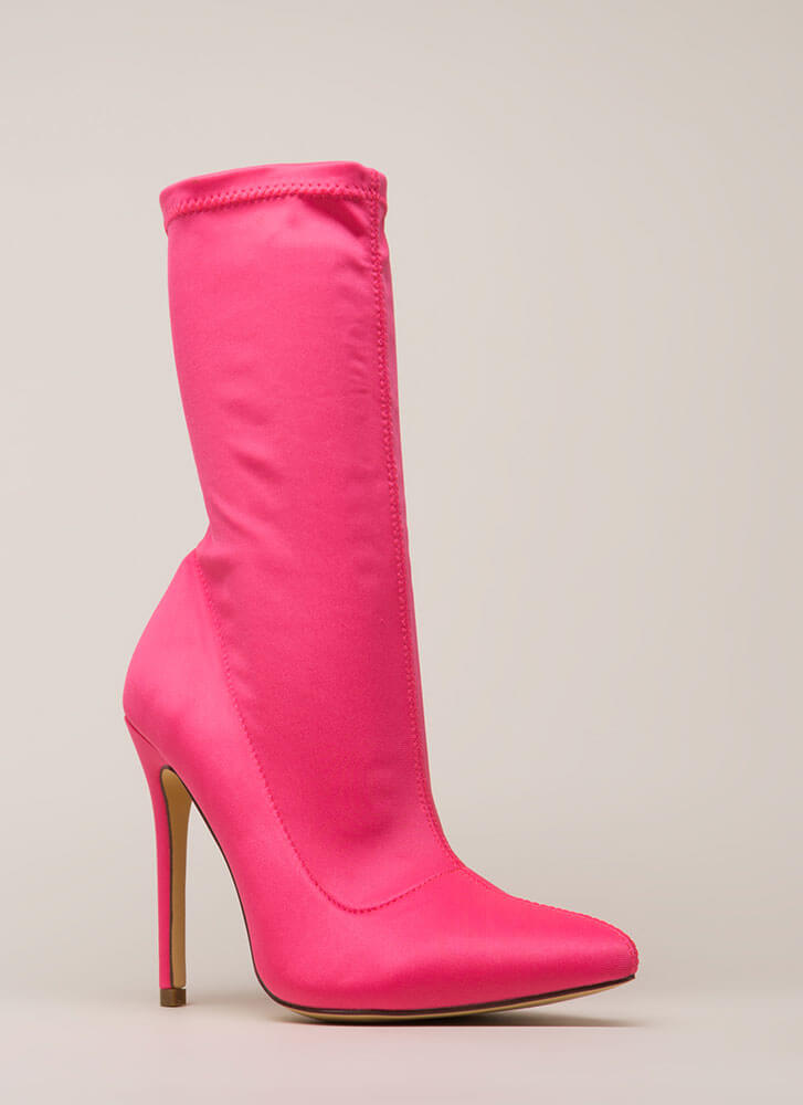 Plain And Tall Pointy Sock Booties PINK