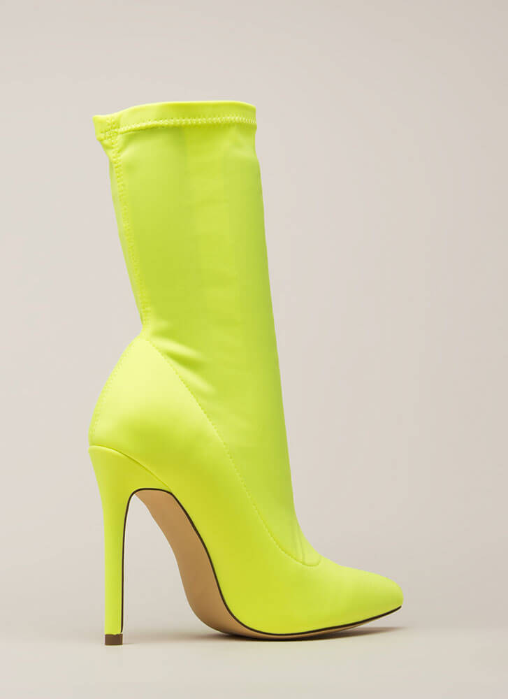 Plain And Tall Pointy Sock Booties YELLOW