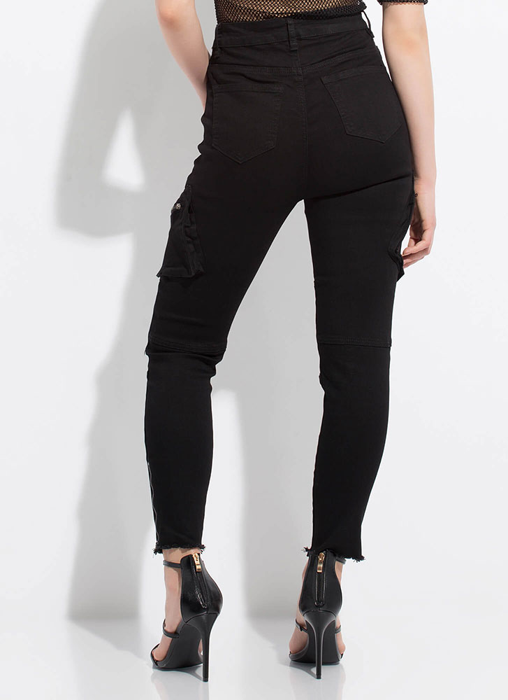 Zippers And Pockets Denim Skinny Pants BLACK