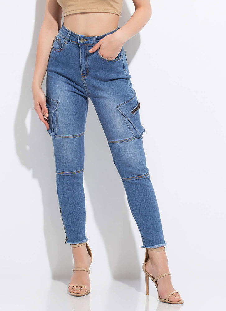 Zippers And Pockets Denim Skinny Pants BLUE
