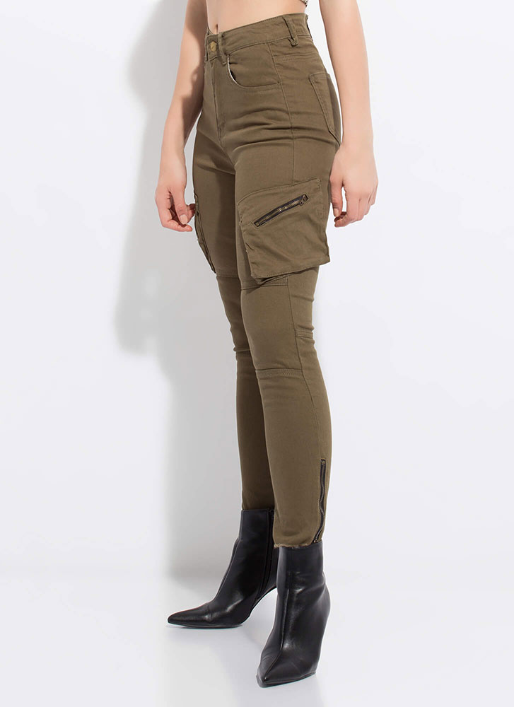 Zippers And Pockets Denim Skinny Pants OLIVE