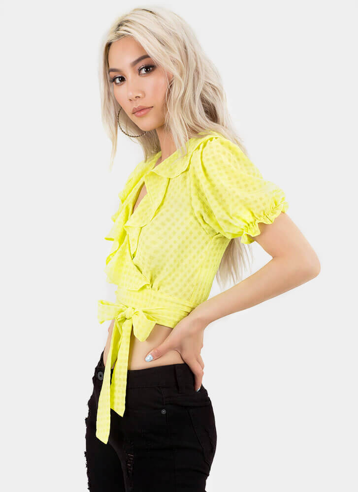 Grid Girl Ruffled Wrapped Crop Top LIME
