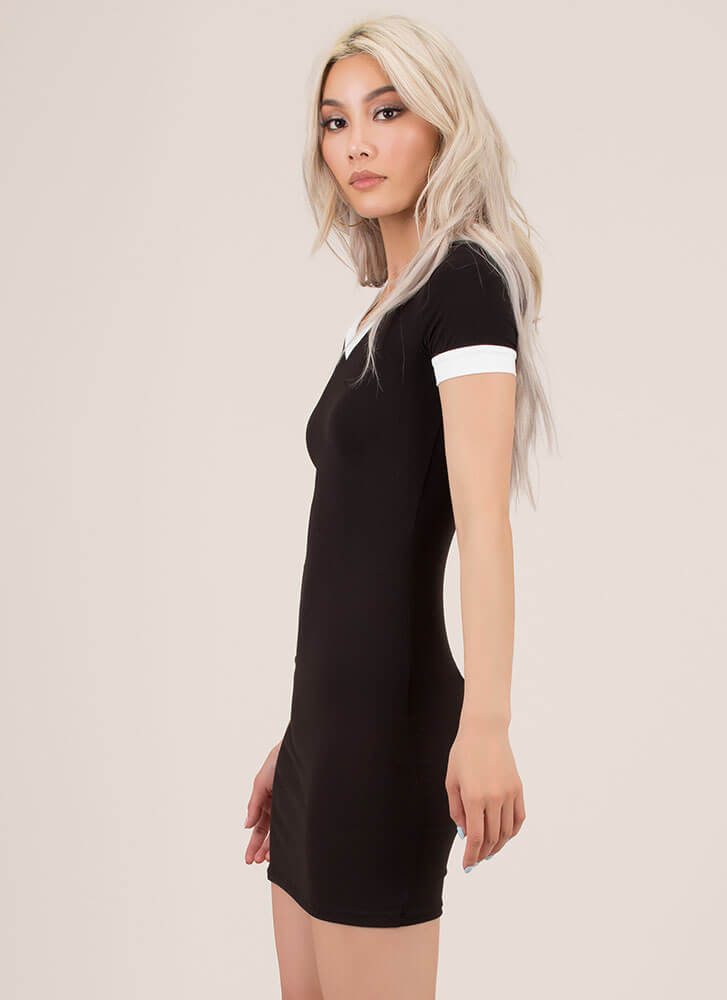 Keep Things Casual Collared Minidress BLACK