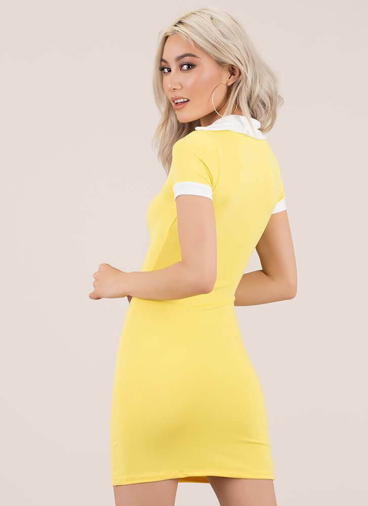 Keep Things Casual Collared Minidress MUSTARD