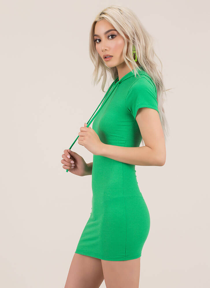Play Along Hooded Rib Knit Minidress GREEN