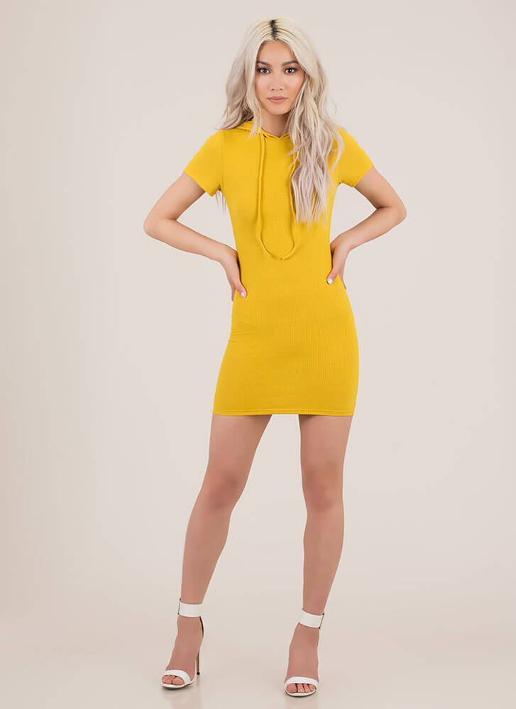 Play Along Hooded Rib Knit Minidress MUSTARD