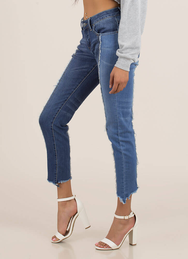Fringe Benefits Colorblock Skinny Jeans DKBLUE