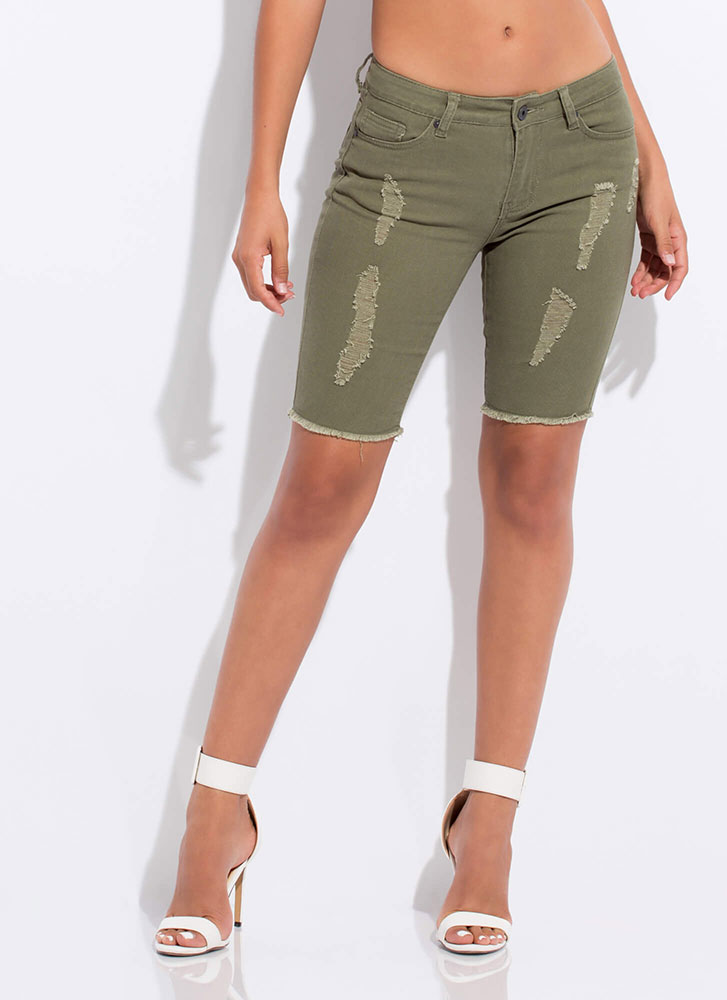 Snag The Look Distressed Denim Shorts OLIVE