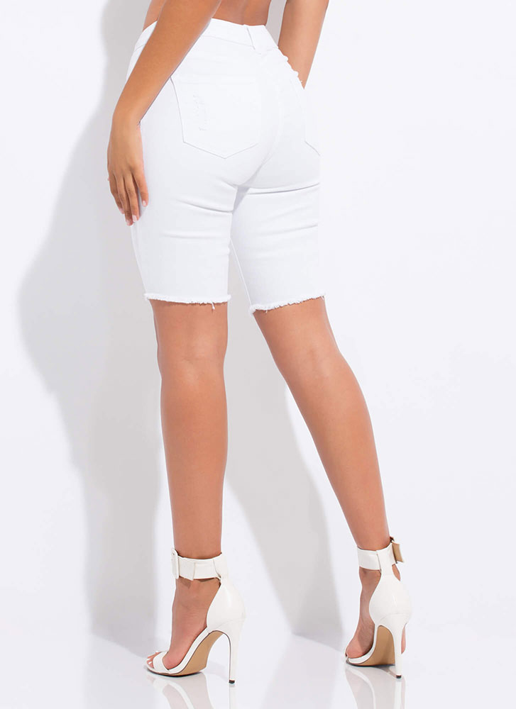 Snag The Look Distressed Denim Shorts WHITE