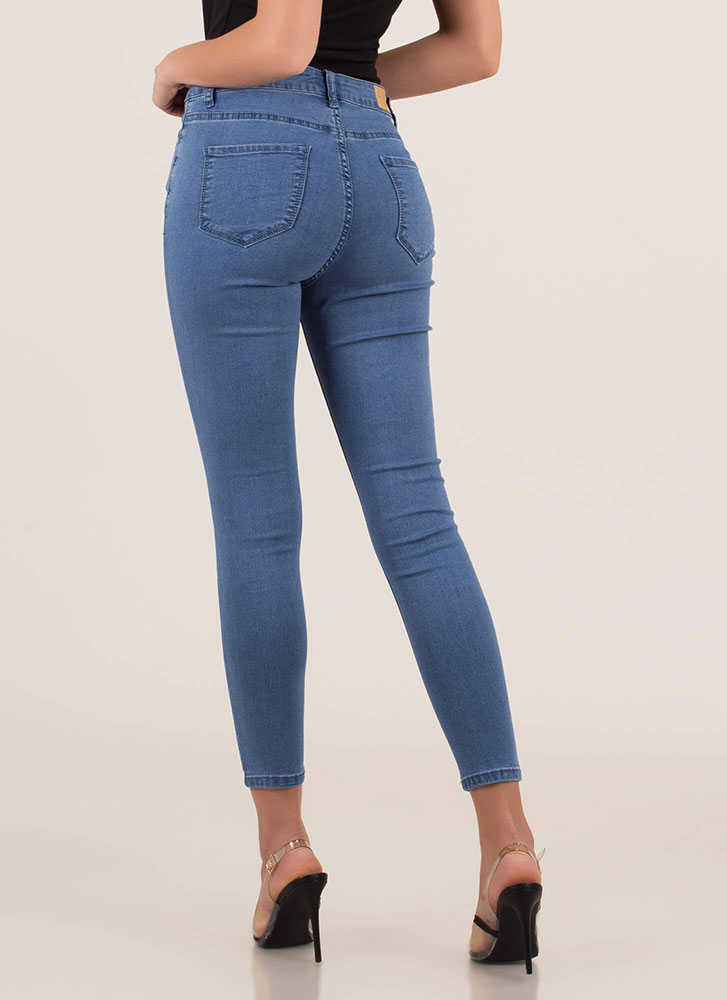 Hot Hardware Zip-Front Skinny Jeans MEDBLUE